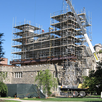 Thomas Hall with scaffold and crane